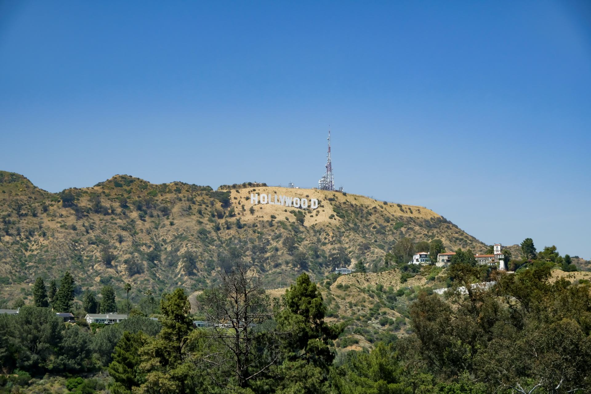 the hollywood sign from lake hollywood park