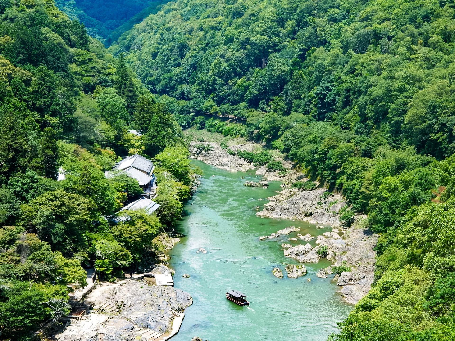 oi river and arashiyama mountains