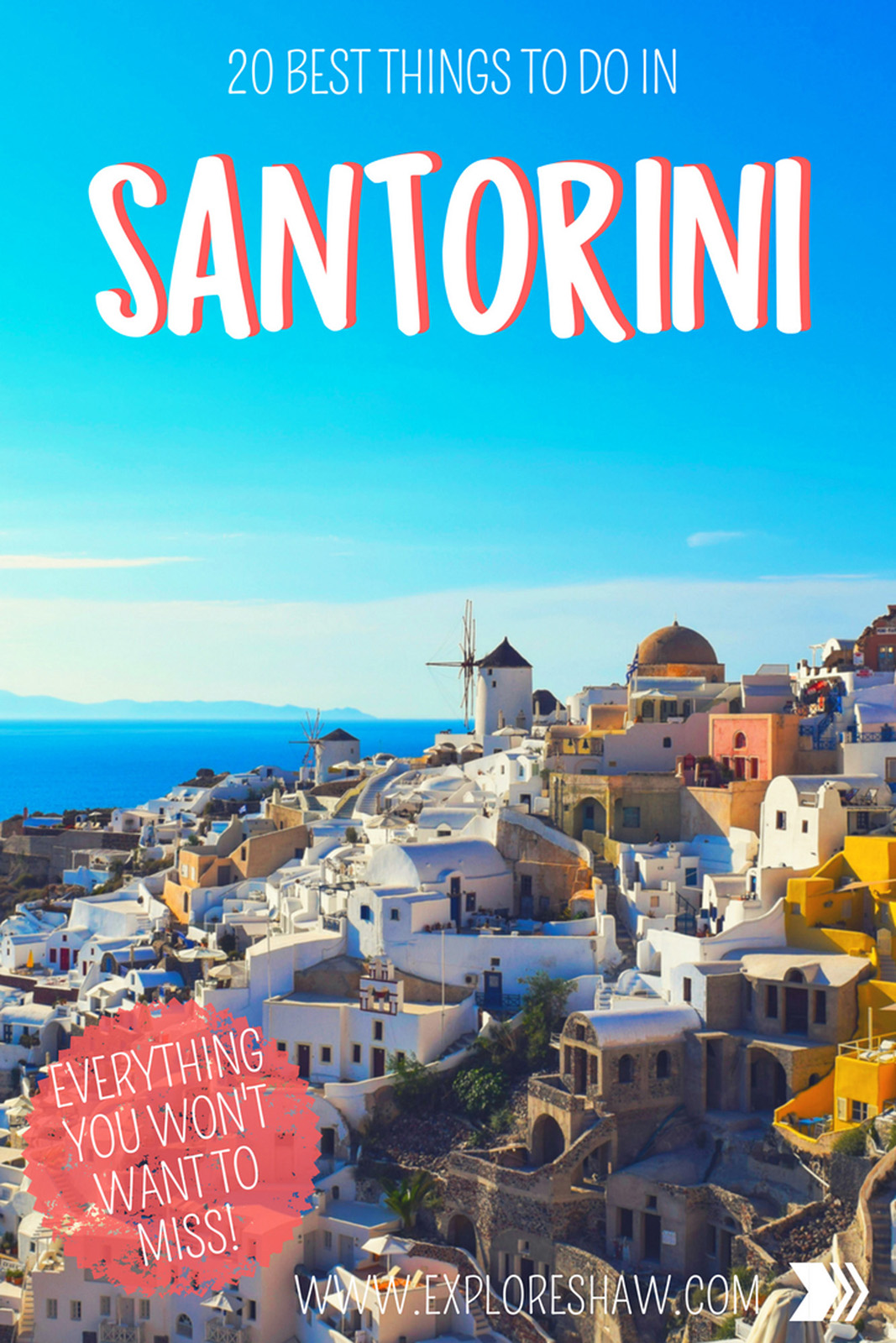 Santorini offers an endless list of things to do, see and experience for such a tiny island. From beaches to hot springs, volcanoes to steep donkey rides there is something for everyone. #Greece
