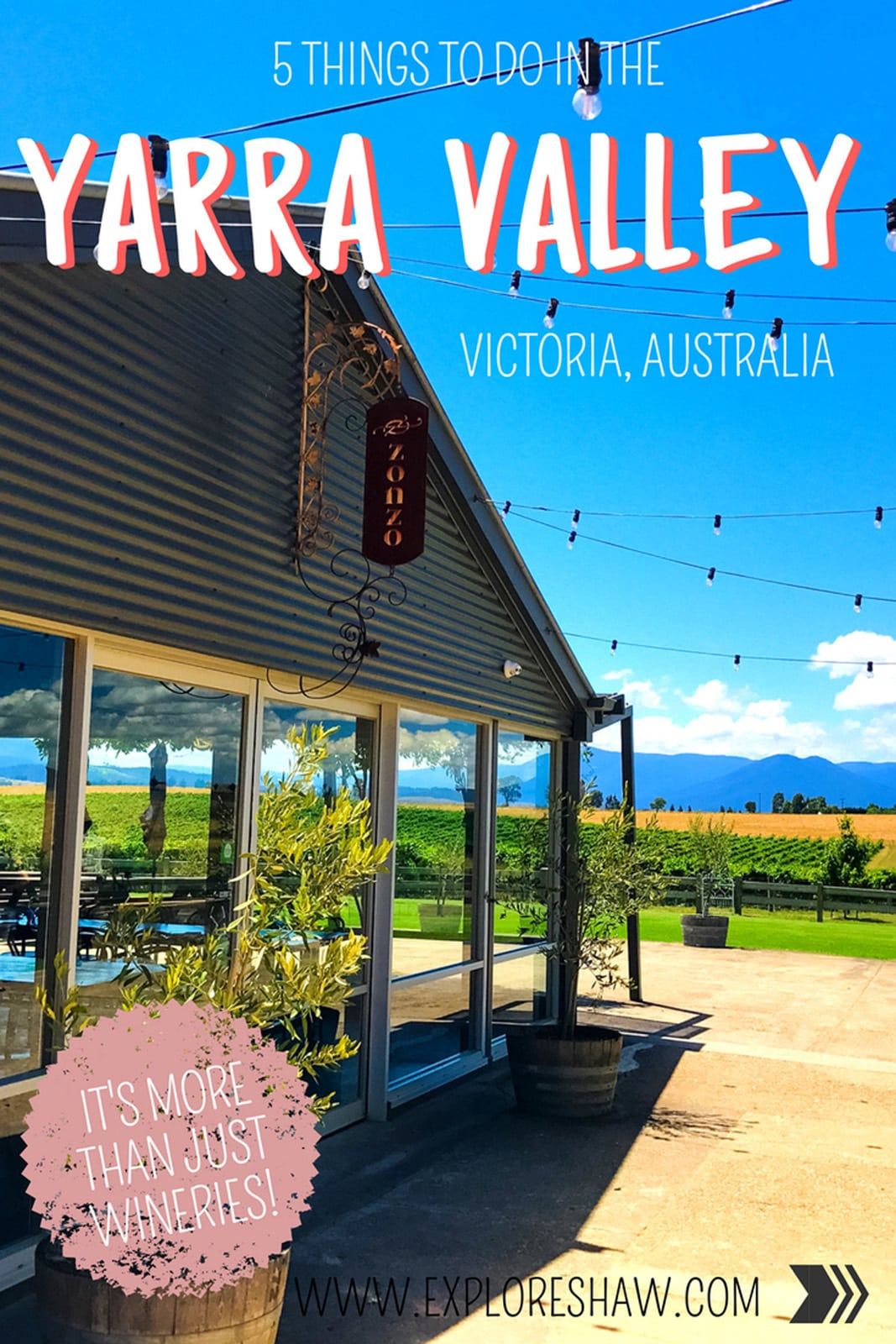 The Yarra Valley is world renowned for it's magnificent wineries, producing some of the best wine in Australia. But here are a few other things that you can't miss if you're visiting in the Yarra Valley.
