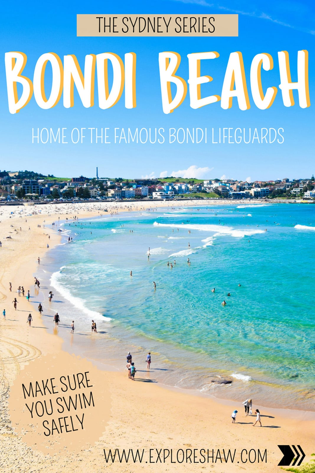 It's always summer at Australia's most famous beach - Bondi Beach in Sydney. The home to the famous lifeguards in blue and the hit reality show Bondi Rescue, you can't visit Sydney without a trip to Bondi Beach. #Australia #NewSouthWales #Sydney #BondiBeach