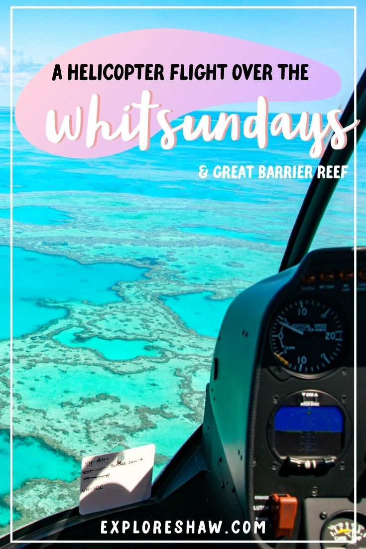 a helicopter flight over the whitsundays