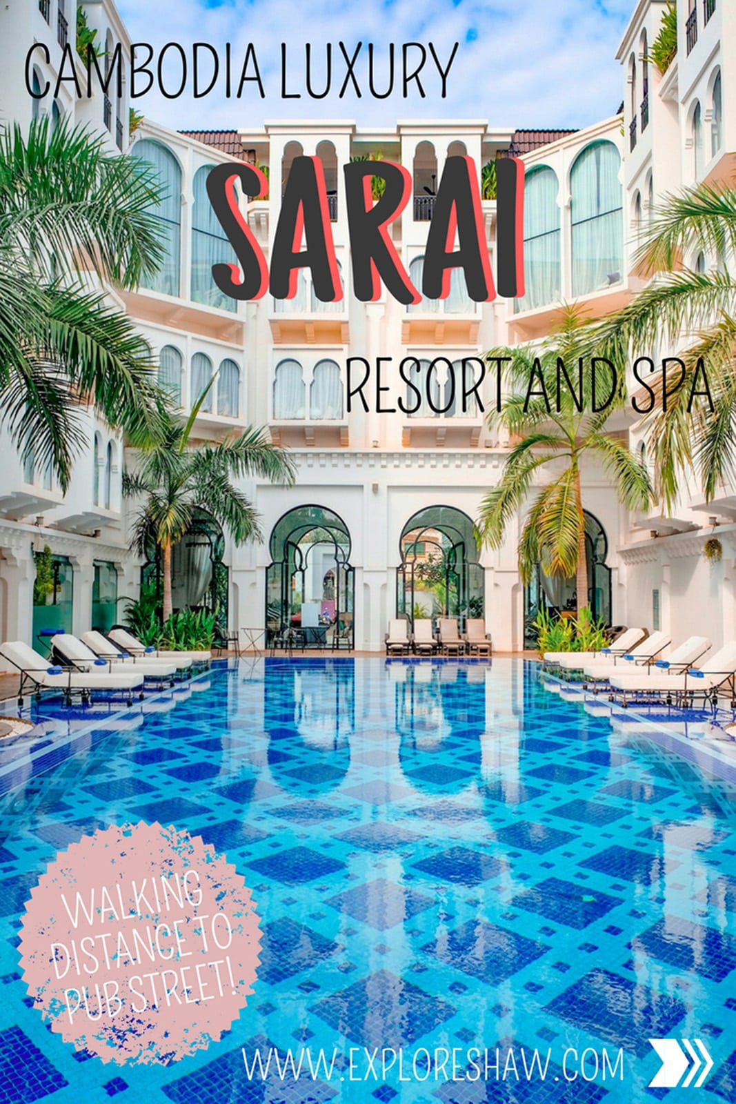 Sarai Resort is in a great location - within walking distance of Pub Street and the Angkor Night Market (both less than 1km or 10 minutes walk away), with several restaurants and cheap bars close by if you don't want to go all the way out to Pub Street. #Cambodia #SiemReap