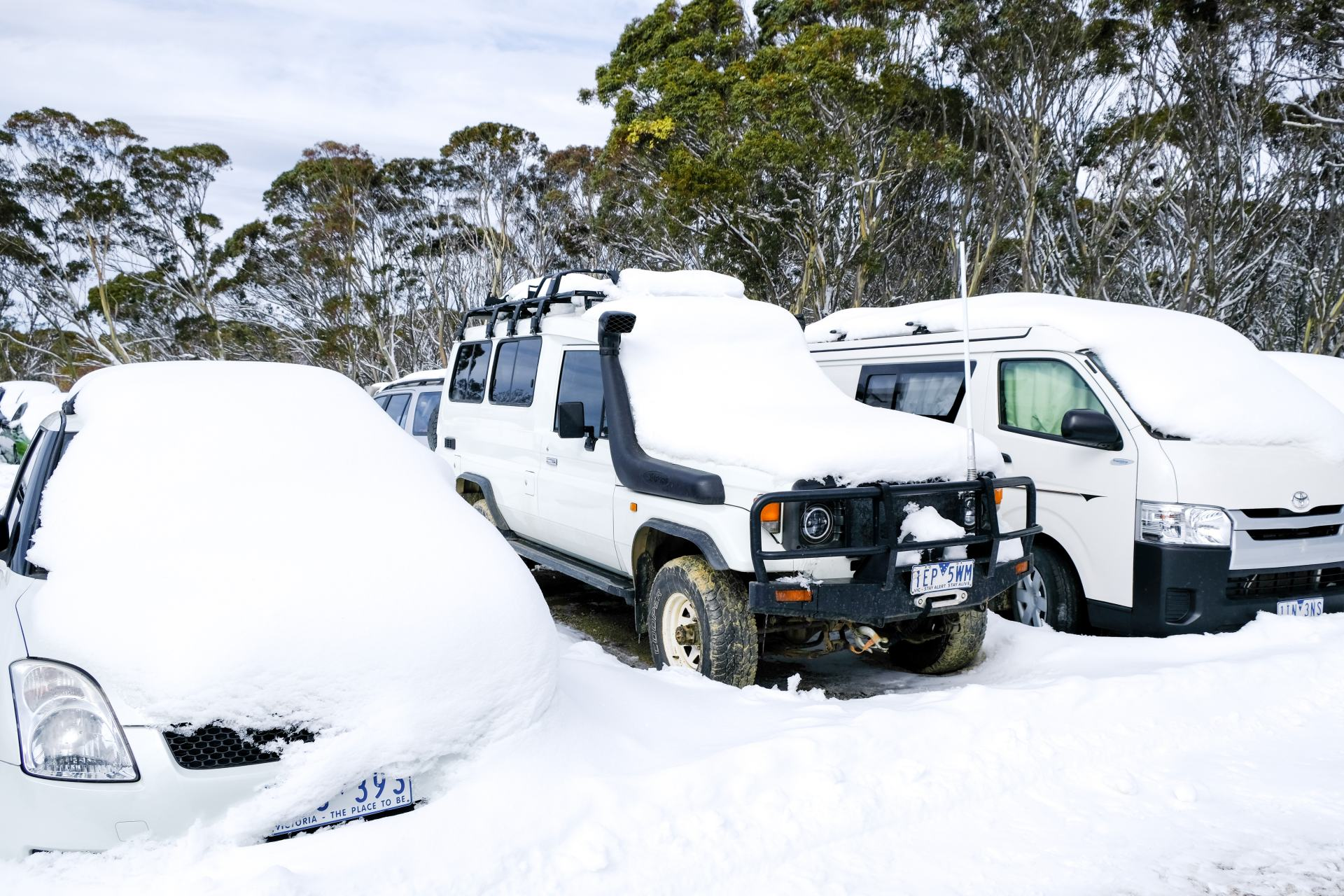 cars covered in snow at mount hotham