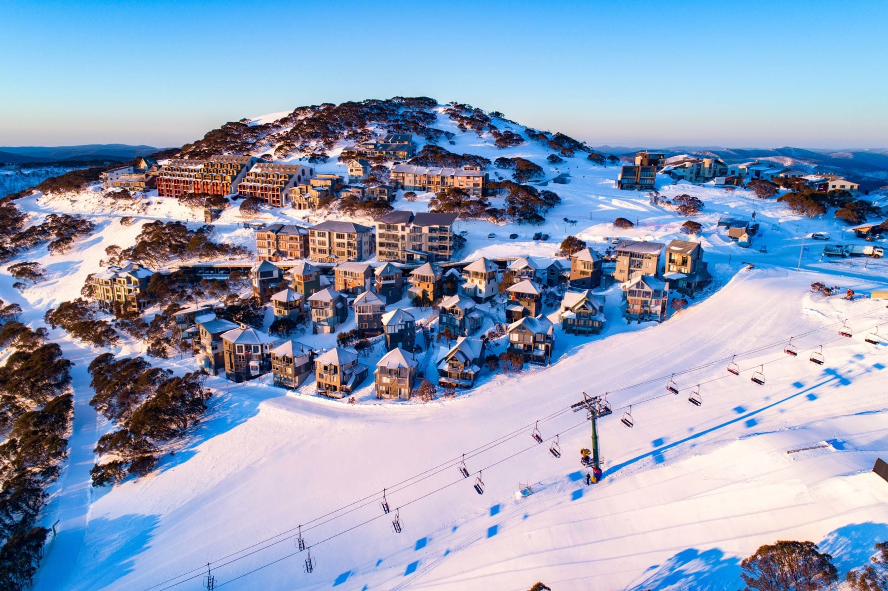 aerial shot of mount hotham village