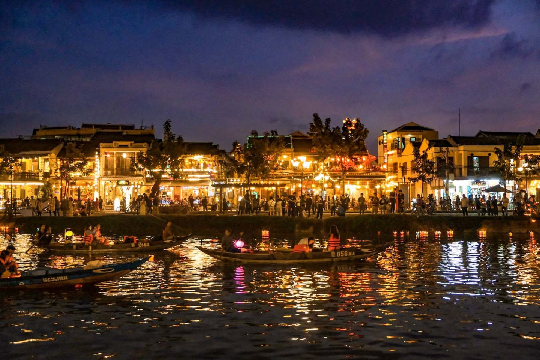 hoi an riverside lit up by lantern festival