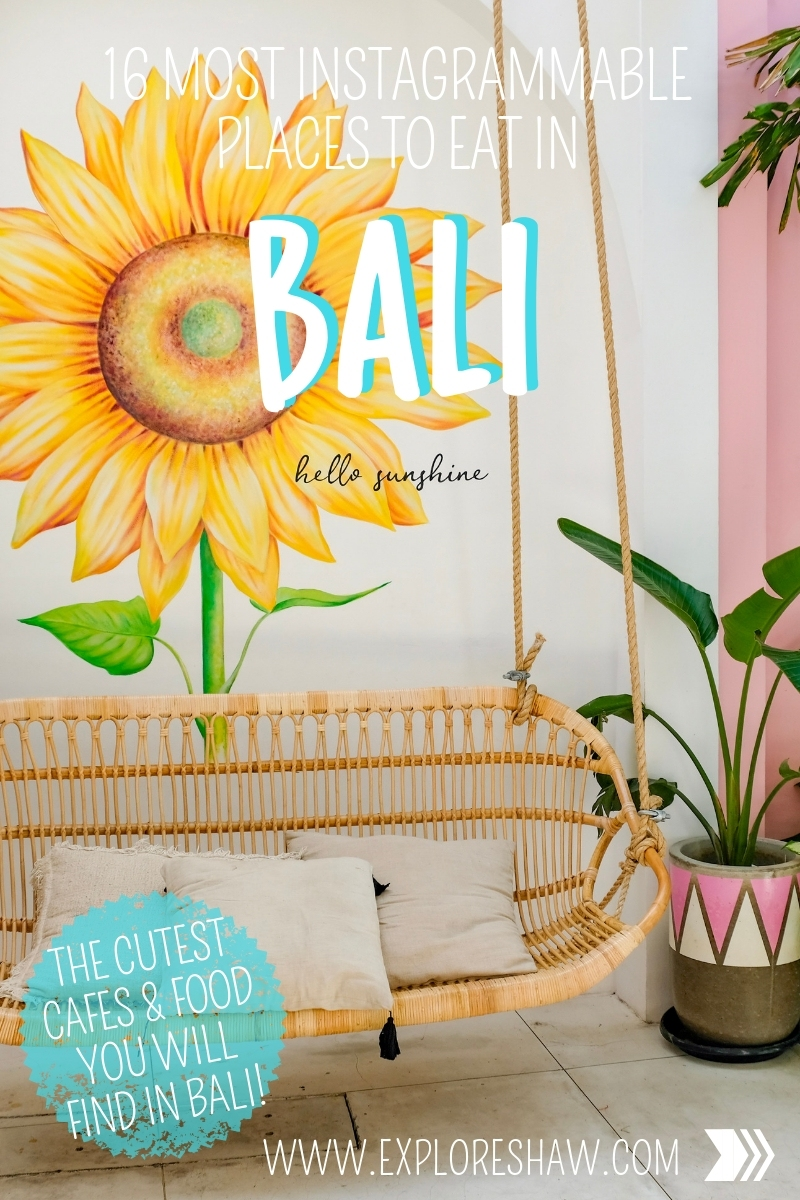 THE 16 MOST INSTAGRAMMABLE PLACES TO EAT IN BALI - a complete list of cafes, restaurants and bars that are just so cute you can't help but put them on Insta! Ever wondered where those cute pink mural walls are? Or the where you can get a coffee with your name designed in it? Here's your complete guide. 