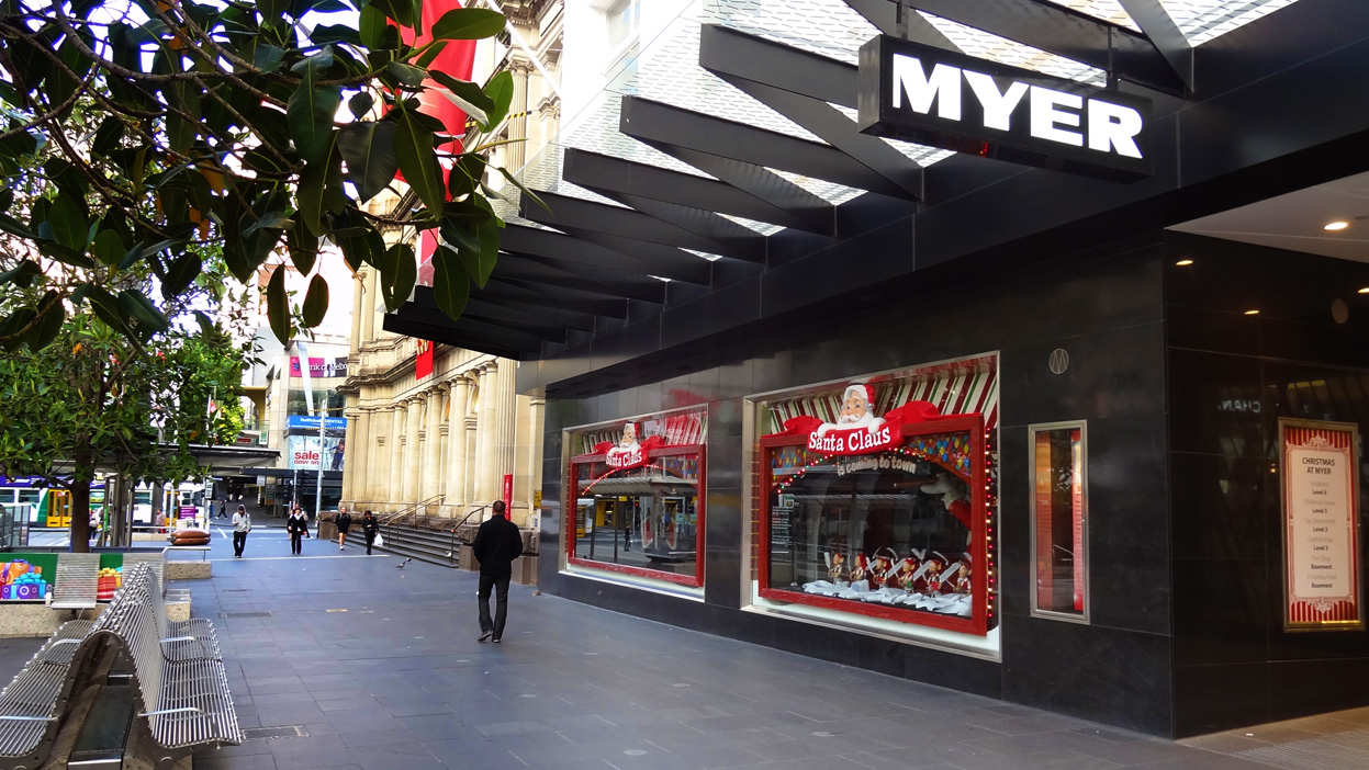myer christmas windows