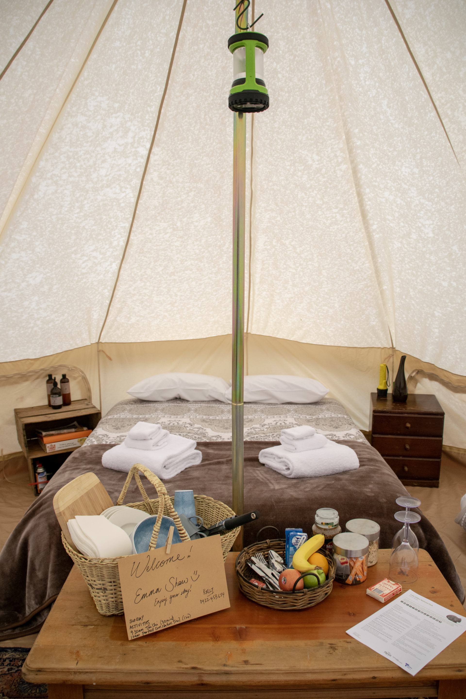 inside our glamping tent