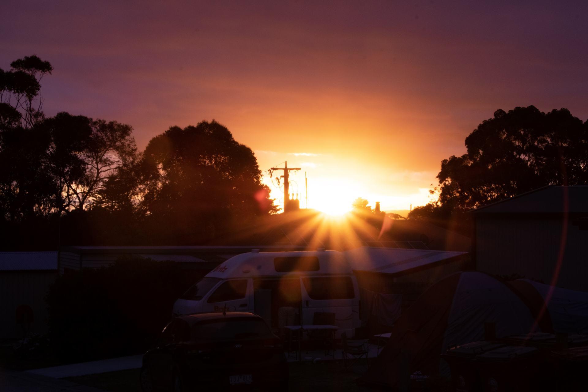 sunset at toora tourist park