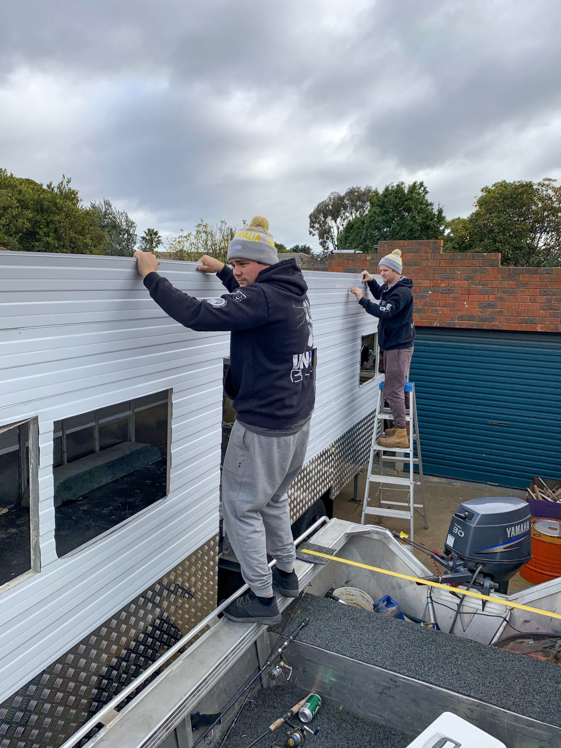 recladding the caravan