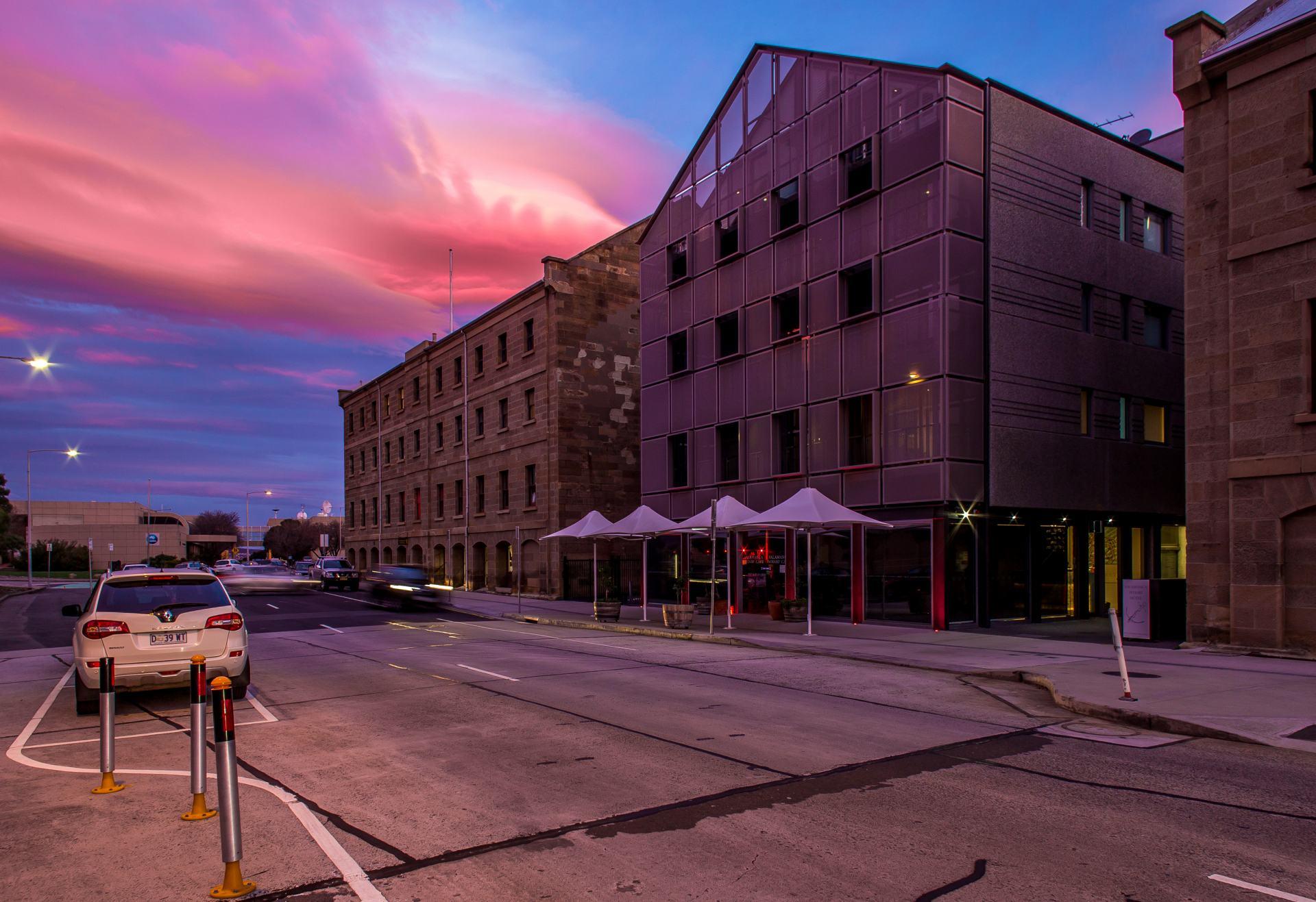 salamanca wharf hotel at sunset