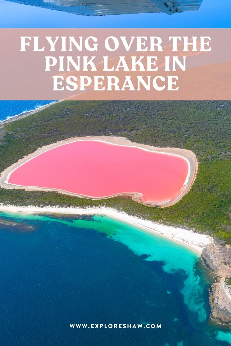 flying over the pink lake in esperance