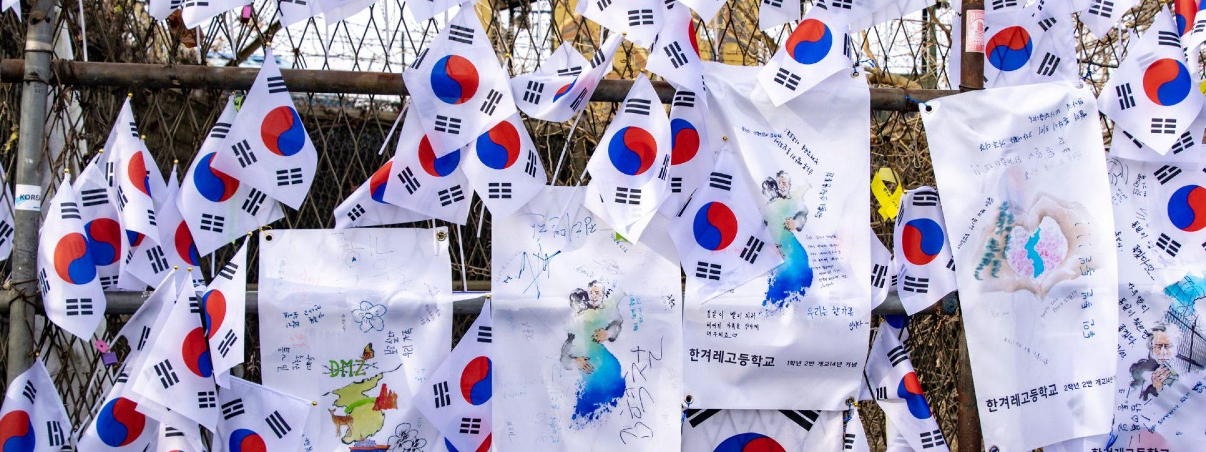 south korea flags on the dmz